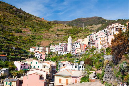 european hillside town - Village of Manarola Built on a Steep Slope, Cinque Terre National Park, UNESCO World Heritage Site, Riomaggiore, Province of La Spezia, Liguria, Italy Stock Photo - Premium Royalty-Free, Code: 600-06486206