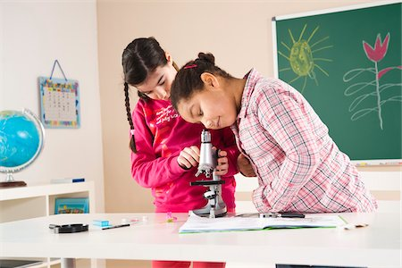 Girls Looking at Flower with Microscope in Classroom, Baden-Wurttemberg, Germany Stock Photo - Premium Royalty-Free, Code: 600-06548582
