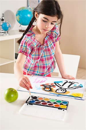 elementary school - Girl Painting in Classroom Stock Photo - Premium Royalty-Free, Code: 600-06543552