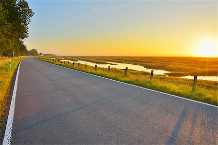 roads and sun - Country Road with Morning Mist, Summer, Toenning, Schleswig-Holstein, Germany Stock Photo - Premium Royalty-Free, Code: 600-06571069