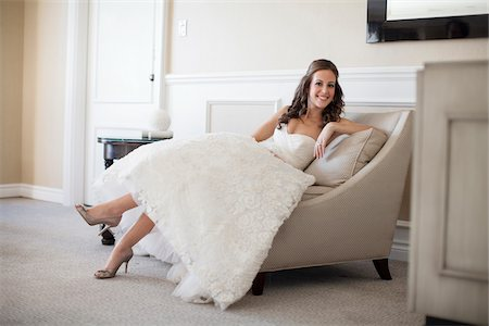 Portrait of Bride sitting on Chair Stock Photo - Premium Royalty-Free, Code: 600-06669611