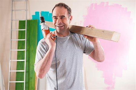 diy or home improvement - Mature Man Renovating his Home Stock Photo - Premium Royalty-Free, Code: 600-06679376