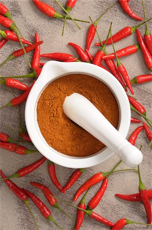spicy - Overhead View of Hot Red Peppers and Ground Peppers in Mortar and Pestle Stock Photo - Premium Royalty-Free, Code: 600-06671818
