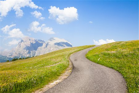 Curved Road through Alpine Meadow, Seiser Alm, Dolomites, South Tyrol, Italy Stock Photo - Premium Royalty-Free, Code: 600-06701857