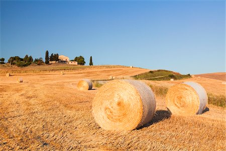 Round Hay Bales in Field with Farm Building in the Distance, Val d'Orcia, Tuscany, Italy Stock Photo - Premium Royalty-Free, Code: 600-06702056
