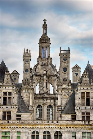 Close up of towers at Chambord Castle (Chateau de Chambord). UNESCO World Heritage Site. Chambord, Loir-et-Cher, Loire Valley, France. Stock Photo - Premium Royalty-Free, Code: 600-06732615