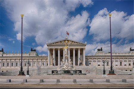 Austrian Parliament and Pallas Athene statue in Vienna. Vienna, Austria. Stock Photo - Premium Royalty-Free, Code: 600-06732629