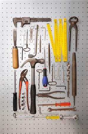 Peg board with tools Stock Photo - Premium Royalty-Free, Code: 600-06758190