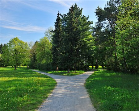 fork - Forked Pathway with Meadow in Spring, Aschaffenburg, Bavaria, Germany Stock Photo - Premium Royalty-Free, Code: 600-06758227