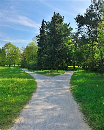 fork - Forked Pathway with Meadow in Spring, Aschaffenburg, Bavaria, Germany Stock Photo - Premium Royalty-Free, Code: 600-06758228