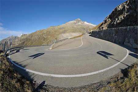 Hairpin Turn in Furka Pass in Autumn, Valais, Switzerland Stock Photo - Premium Royalty-Free, Code: 600-06758372