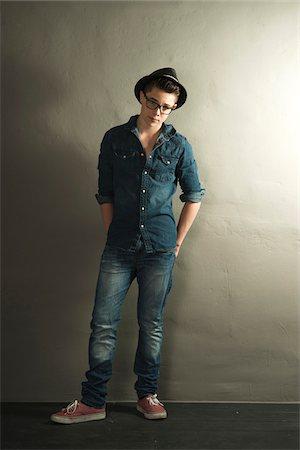 Full Length Portrait of Teenage Boy, Studio Shot Stock Photo - Premium Royalty-Free, Code: 600-06752507