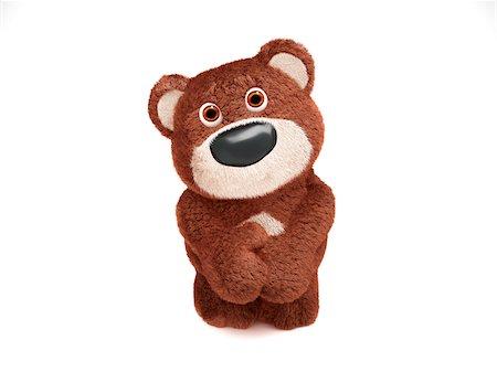 Illustration of Shy Teddy Bear on White Background Stock Photo - Premium Royalty-Free, Code: 600-06773114