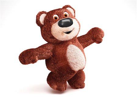 Illustration of Happy Teddy Bear on White Background Stock Photo - Premium Royalty-Free, Code: 600-06773116