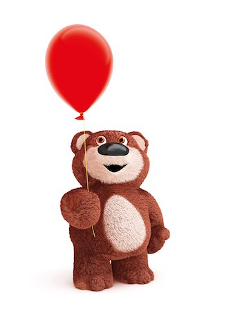 Illustration of Teddy Bear with Balloon on White Background Stock Photo - Premium Royalty-Free, Code: 600-06773117