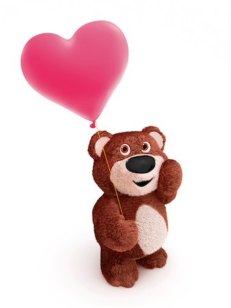 Illustration of Teddy Bear with Heart-shaped Balloon on White Background Stock Photo - Premium Royalty-Free, Code: 600-06773118