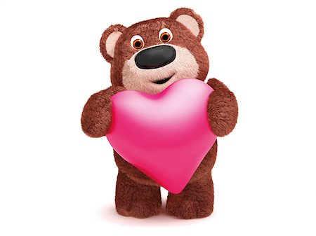 Illustration of Teddy Bear with Heart on White Background Stock Photo - Premium Royalty-Free, Code: 600-06773119
