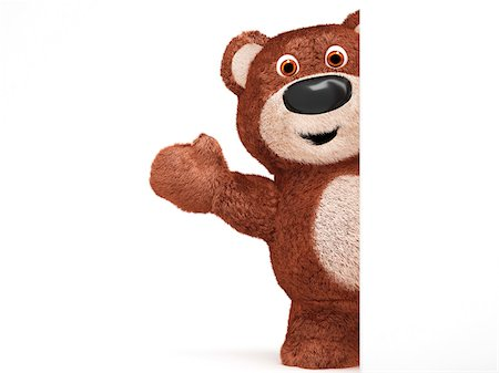 Illustration of Teddy Bear Waving from Behind Wall on White Background Stock Photo - Premium Royalty-Free, Code: 600-06773122