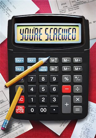 displaying - view of calculator with broken pencil and tax forms Stock Photo - Premium Royalty-Free, Code: 600-06786878