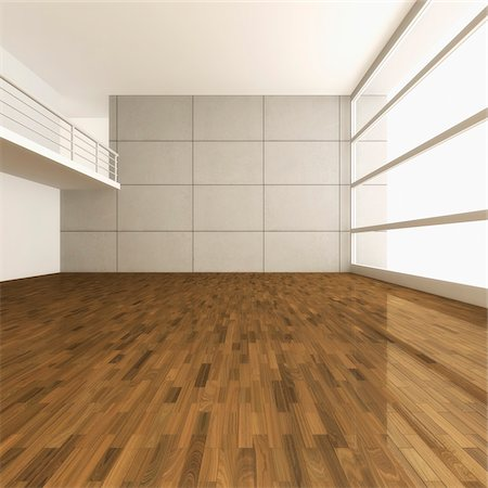 empty - 3D-Illustration of Empty Room with Gallery Photographie de stock - Premium Libres de Droits, Code: 600-06808791