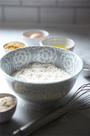 Bowl of Flour with Whisk and Baking Ingredients, Studio Shot Stock Photo - Premium Royalty-Free, Code: 600-06808822