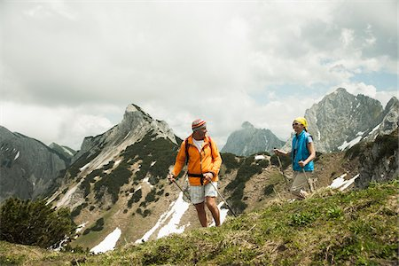 rugged landscape - Mature couple hiking in mountains, Tannheim Valley, Austria Stock Photo - Premium Royalty-Free, Code: 600-06826397