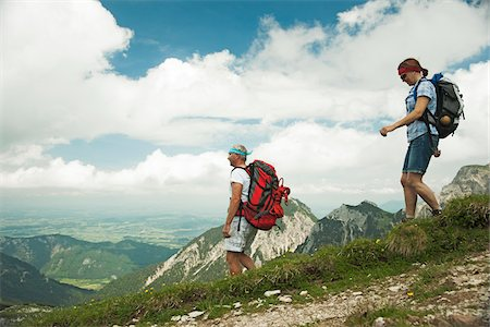 scenic view - Mature couple hiking in mountains, Tannheim Valley, Austria Stock Photo - Premium Royalty-Free, Code: 600-06826391