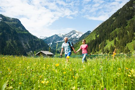 senior adult - Couple Hiking, Vilsalpsee, Tannheim Valley, Tyrol, Austria Stock Photo - Premium Royalty-Free, Code: 600-06841780