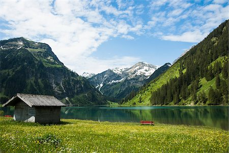 Scenic view of Lake Vilsalpsee, Tannheim Valley, Austria Stock Photo - Premium Royalty-Free, Code: 600-06841953