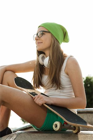 female only - Teenage Girl Hanging out in Skatepark, Feudenheim, Mannheim, Baden-Wurttemberg, Germany Stock Photo - Premium Royalty-Free, Code: 600-06894956