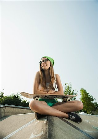 funky - Teenage Girl Hanging out in Skatepark, Feudenheim, Mannheim, Baden-Wurttemberg, Germany Stock Photo - Premium Royalty-Free, Code: 600-06894959