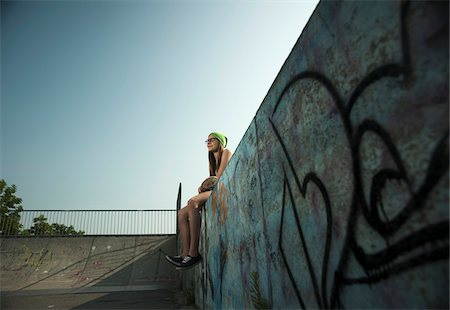 Teenage Girl Hanging out in Skatepark, Feudenheim, Mannheim, Baden-Wurttemberg, Germany Stock Photo - Premium Royalty-Free, Code: 600-06894967