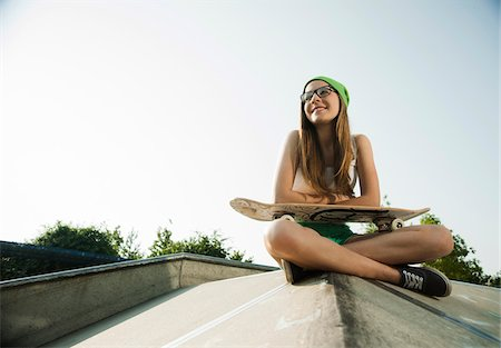 Teenage Girl Hanging out in Skatepark, Feudenheim, Mannheim, Baden-Wurttemberg, Germany Stock Photo - Premium Royalty-Free, Code: 600-06894960