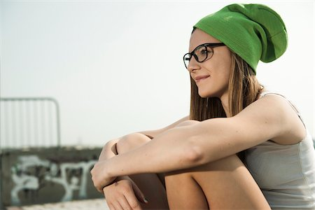 funky - Teenage Girl Hanging out in Skatepark, Feudenheim, Mannheim, Baden-Wurttemberg, Germany Stock Photo - Premium Royalty-Free, Code: 600-06894970