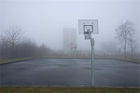 Basketball Court on Misty Morning, Kastrup, Copenhagen, Denmark Stock Photo - Premium Royalty-Free, Code: 600-06895014
