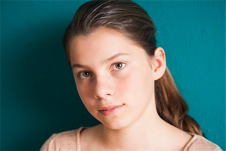 preteen girls faces photo - Close-up portrait of girl, Germany Stock Photo - Premium Royalty-Free, Code: 600-06899906