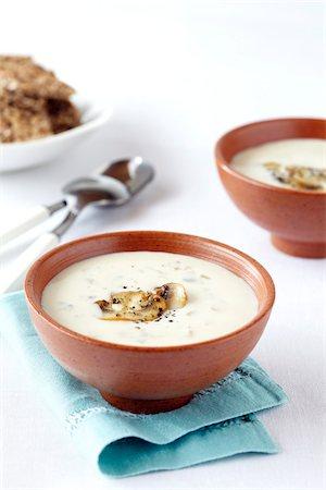 Bowls of Creamy Mushroom Soup, Studio Shot Stock Photo - Premium Royalty-Free, Code: 600-06935007