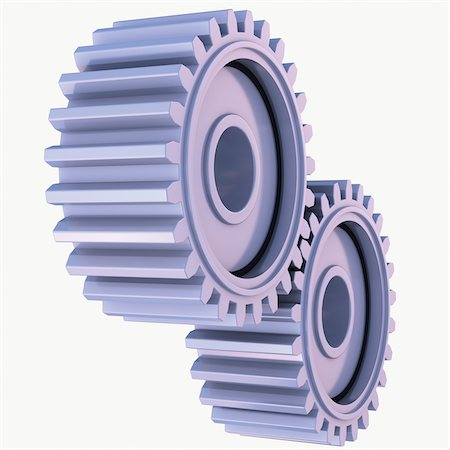 3D-Illustration of Gears on White Background Stock Photo - Premium Royalty-Free, Code: 600-06936138