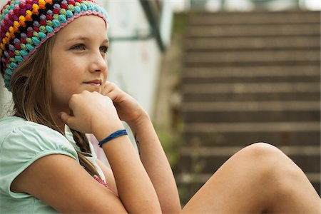 preteen girl pigtails - Close-up of Girl Outdoors, Mannheim, Baden-Wurttemberg, Germany Stock Photo - Premium Royalty-Free, Code: 600-07117289