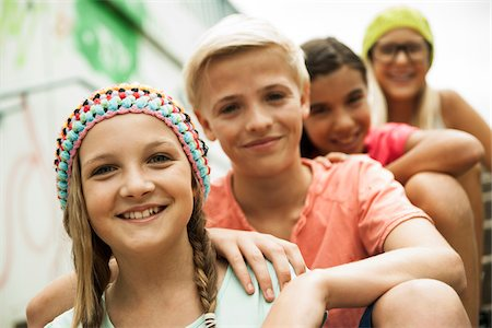 preteen girls faces photo - Portrait of Girls and Boy Outdoors, Mannheim, Baden-Wurttemberg, Germany Stock Photo - Premium Royalty-Free, Code: 600-07117291