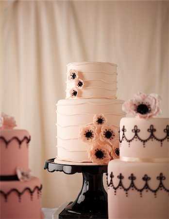 sweets - Pink Tiered Wedding Cakes, Studio Shot Stock Photo - Premium Royalty-Free, Code: 600-07110425