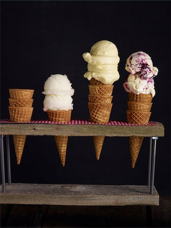 Ice Cream Cone Stand, Studio Shot Stock Photo - Premium Royalty-Free, Code: 600-07110441