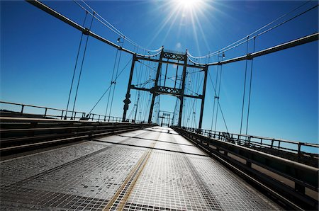Driver's View of Thousand Islands Bridge over St Lawrence River, Crossing over to USA from Ontario, Canada Stock Photo - Premium Royalty-Free, Code: 600-07110504