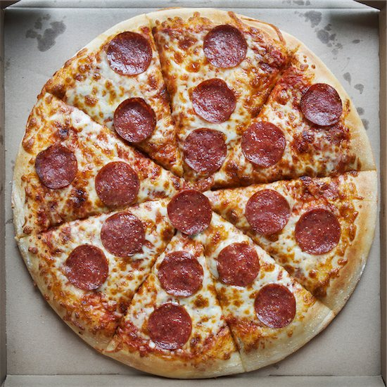 Overhead View of Whole Pepperoni and Cheese Pizza in Cardboard Box Stock Photo - Premium Royalty-Free, Artist: Andrew Kolb, Image code: 600-07110505