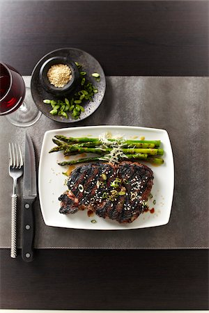 still life - Overhead View of Steak and Asparagus, Studio Shot Stock Photo - Premium Royalty-Free, Code: 600-07110684