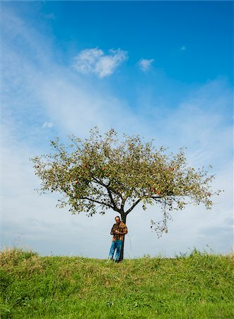 single fruits tree - Farmer standing on hill next to apple tree, eating apple, Germany Stock Photo - Premium Royalty-Free, Code: 600-07148341