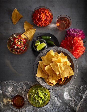 Variety of salsas, condiments and tortilla chips, Mexican Fiesta, studio shot Stock Photo - Premium Royalty-Free, Code: 600-07156165
