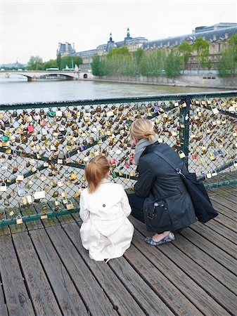 europe - Mother and Daughter looking at Love Locks on Pont Des Arts, Paris, France Stock Photo - Premium Royalty-Free, Code: 600-07199702