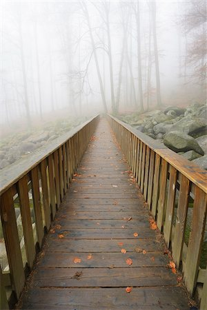 fog (weather) - Wooden bridge in early morning mist, popular destination, Felsenmeer, Odenwald, Hesse, Germany, Europe Stock Photo - Premium Royalty-Free, Code: 600-07199791