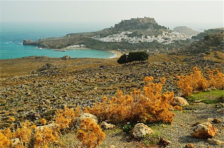 european hillside town - Lindos town and Acropolis of Lindos, Rhodes, Dodecanese, Aegean Sea, Greece, Europe Stock Photo - Premium Royalty-Free, Code: 600-07199971